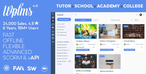 WPLMS Learning Management System for WordPress, Education Theme wpzones