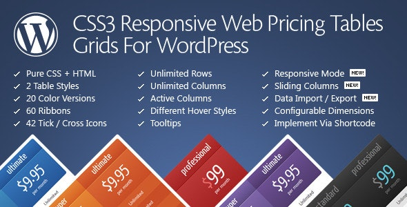 CSS3 Responsive WordPress Compare Pricing Tables free download wpzones