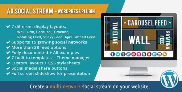AX Social Stream Wordpress Plugin free download wpzones themeforest codecanyon