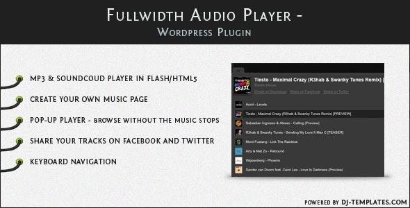 Fullwidth Audio Player - Wordpress plugin free download wpzones